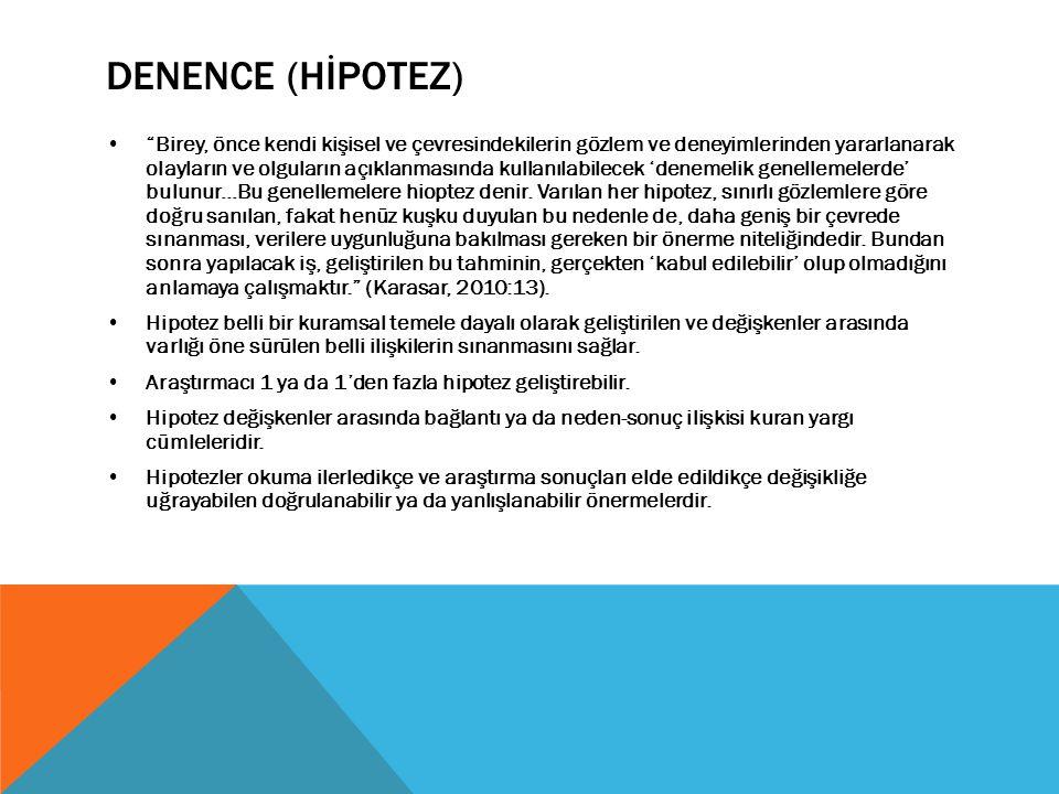"""DENENCE (HİPOTEZ) """"Birey, önce kendi kişisel ve çevresindekilerin gözlem ve deneyimlerinden yararlanarak olayların ve olguların açıklanmasında kullanı"""