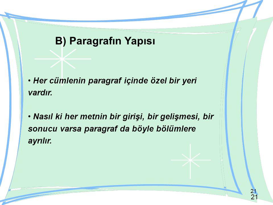 21 B) Paragrafın Yapısı Her cümlenin paragraf içinde özel bir yeri vardır. Nasıl ki her metnin bir girişi, bir gelişmesi, bir sonucu varsa paragraf da