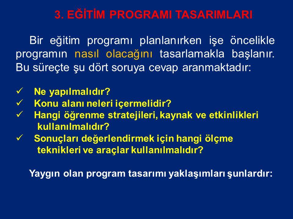 3. EĞİTİM PROGRAMI TASARIMLARI Bir eğitim programı planlanırken işe öncelikle programın nasıl olacağını tasarlamakla başlanır. Bu süreçte şu dört soru