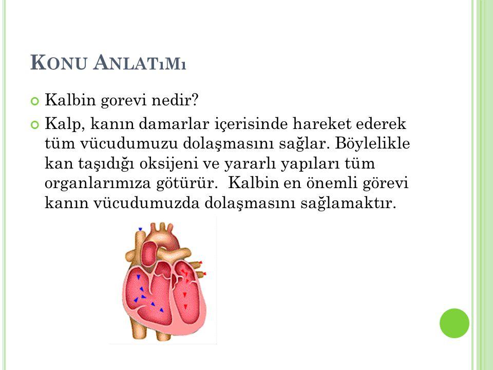 K ONU A NLATıMı Kalbin gorevi nedir? Kalp, kanın damarlar içerisinde hareket ederek tüm vücudumuzu dolaşmasını sağlar. Böylelikle kan taşıdığı oksijen