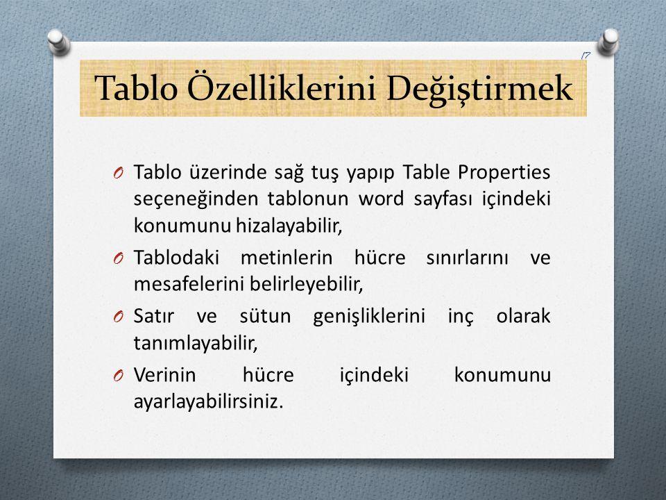 Tablo Özelliklerini Değiştirmek O Tablo üzerinde sağ tuş yapıp Table Properties seçeneğinden tablonun word sayfası içindeki konumunu hizalayabilir, O