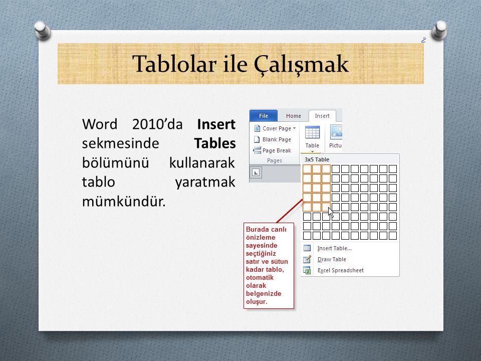 Tablolar ile Çalışmak Word 2010'da Insert sekmesinde Tables bölümünü kullanarak tablo yaratmak mümkündür. 2