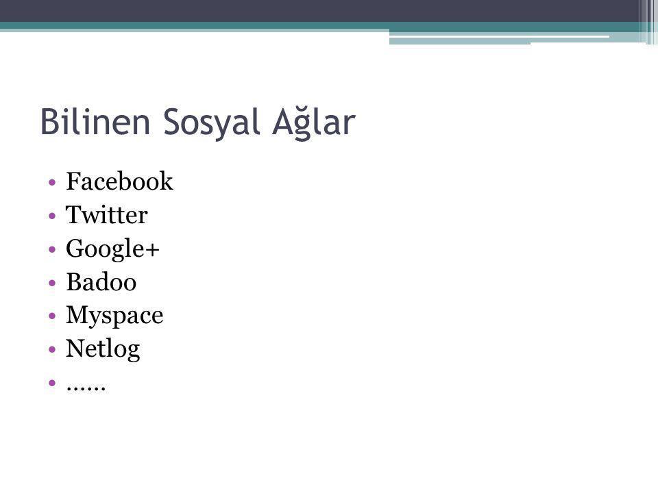 Facebook Twitter Google+ Badoo Myspace Netlog …… Bilinen Sosyal Ağlar