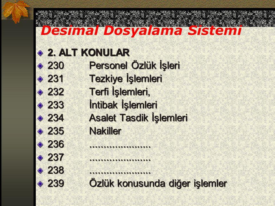 Desimal Dosyalama Sistemi 2. ALT KONULAR 230 Personel Özlük İşleri 231 Tezkiye İşlemleri 232 Terfi İşlemleri, 233 İntibak İşlemleri 234 Asalet Tasdik
