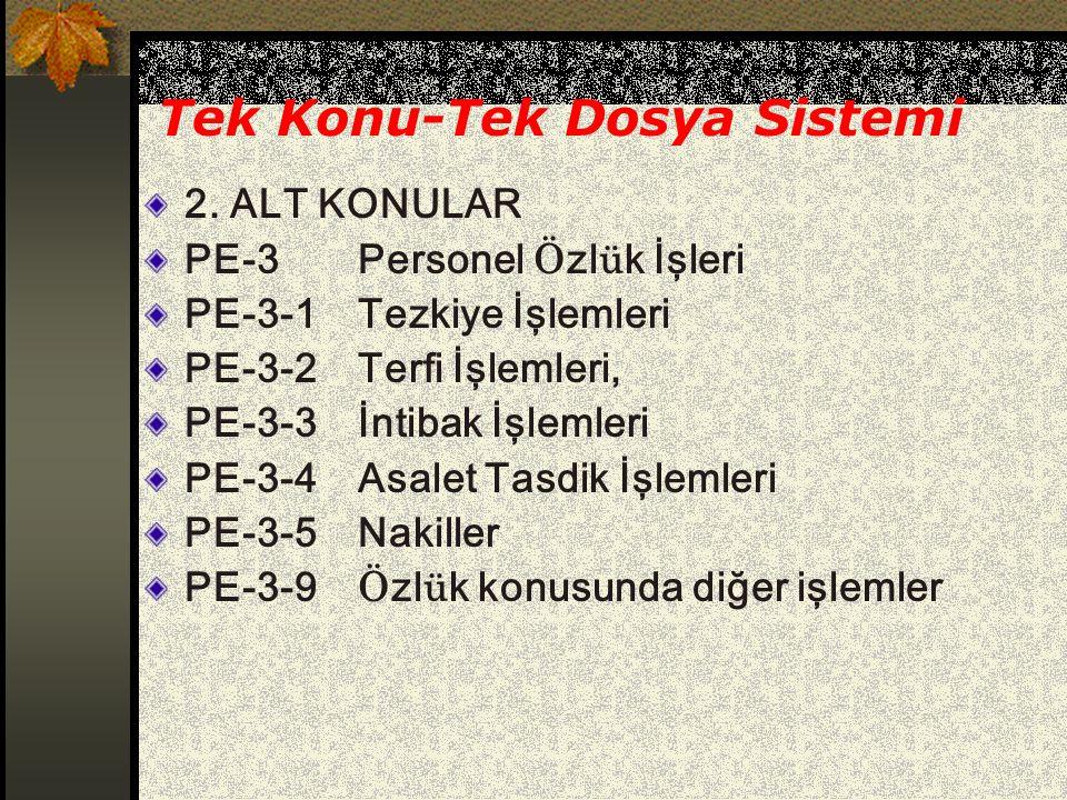 Tek Konu-Tek Dosya Sistemi 2. ALT KONULAR PE-3Personel Ö zl ü k İşleri PE-3-1Tezkiye İşlemleri PE-3-2Terfi İşlemleri, PE-3-3İntibak İşlemleri PE-3-4As