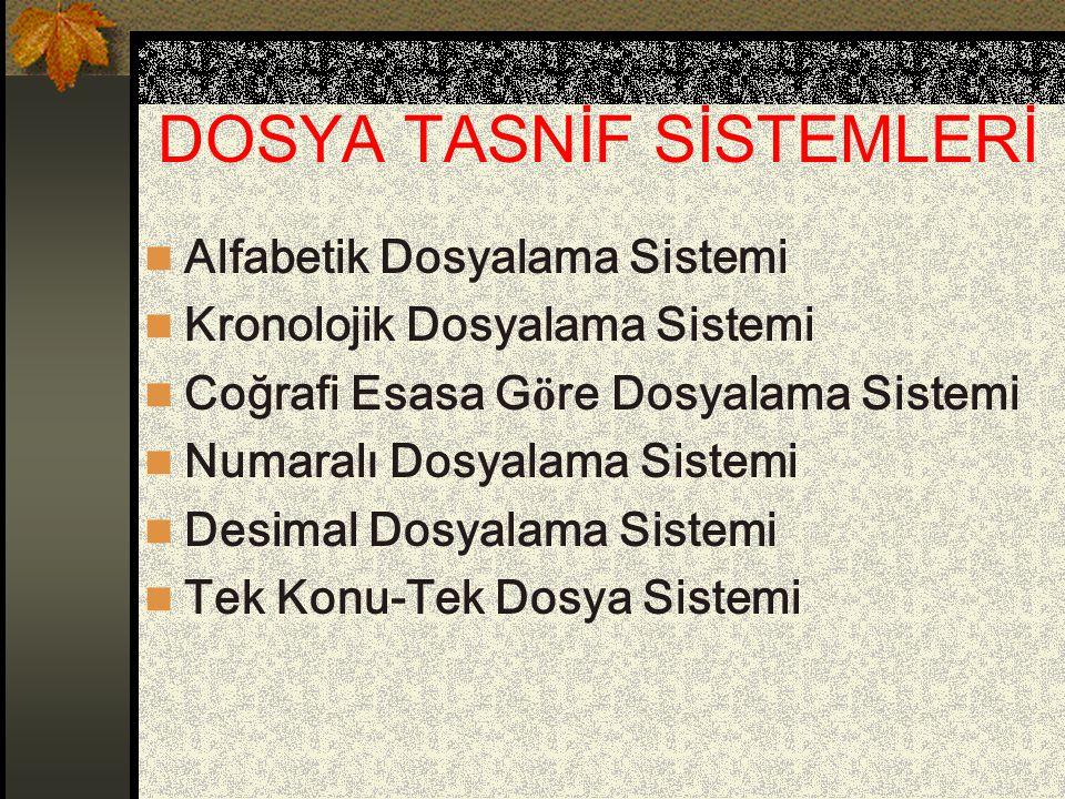DOSYA TASNİF SİSTEMLERİ Alfabetik Dosyalama Sistemi Kronolojik Dosyalama Sistemi Coğrafi Esasa G ö re Dosyalama Sistemi Numaralı Dosyalama Sistemi Des
