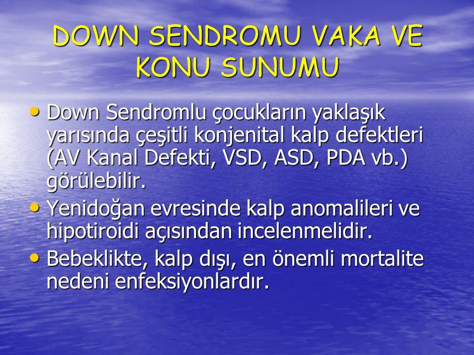 DOWN SENDROMU VAKA VE KONU SUNUMU Yineleyen üst ve alt solunum yolu enfeksiyonları işitme kaybına yol açabilir.
