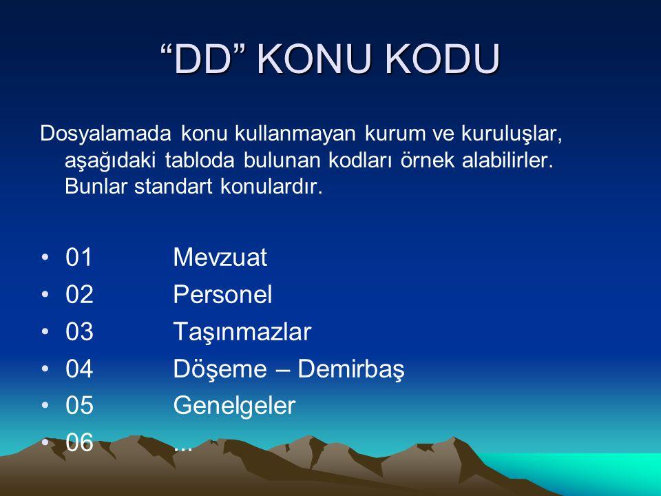 """""""DD"""" KONU KODU Dosyalamada konu kullanmayan kurum ve kuruluşlar, aşağıdaki tabloda bulunan kodları örnek alabilirler. Bunlar standart konulardır. 01Me"""