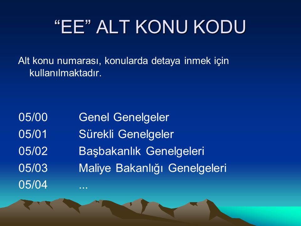 """""""EE"""" ALT KONU KODU Alt konu numarası, konularda detaya inmek için kullanılmaktadır. 05/00Genel Genelgeler 05/01Sürekli Genelgeler 05/02Başbakanlık Gen"""