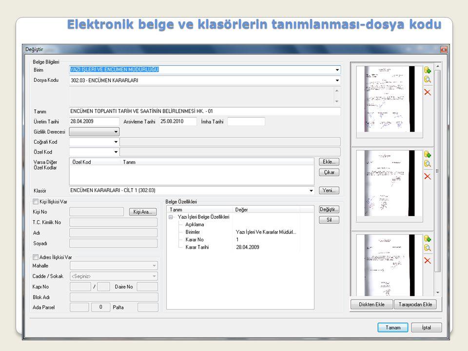 Elektronik belge ve klasörlerin tanımlanması-dosya kodu