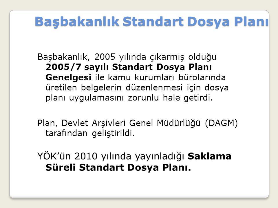 Başbakanlık Standart Dosya Planı Başbakanlık Standart Dosya Planı Başbakanlık, 2005 yılında çıkarmış olduğu 2005/7 sayılı Standart Dosya Planı Genelge