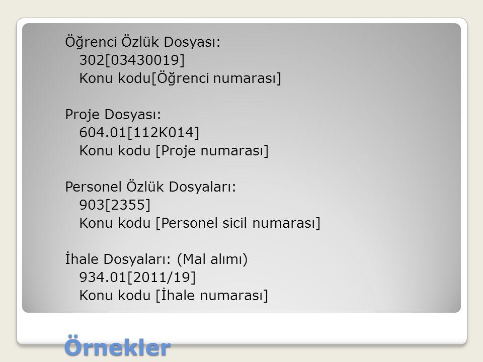 Örnekler Öğrenci Özlük Dosyası: 302[03430019] Konu kodu[Öğrenci numarası] Proje Dosyası: 604.01[112K014] Konu kodu [Proje numarası] Personel Özlük Dos