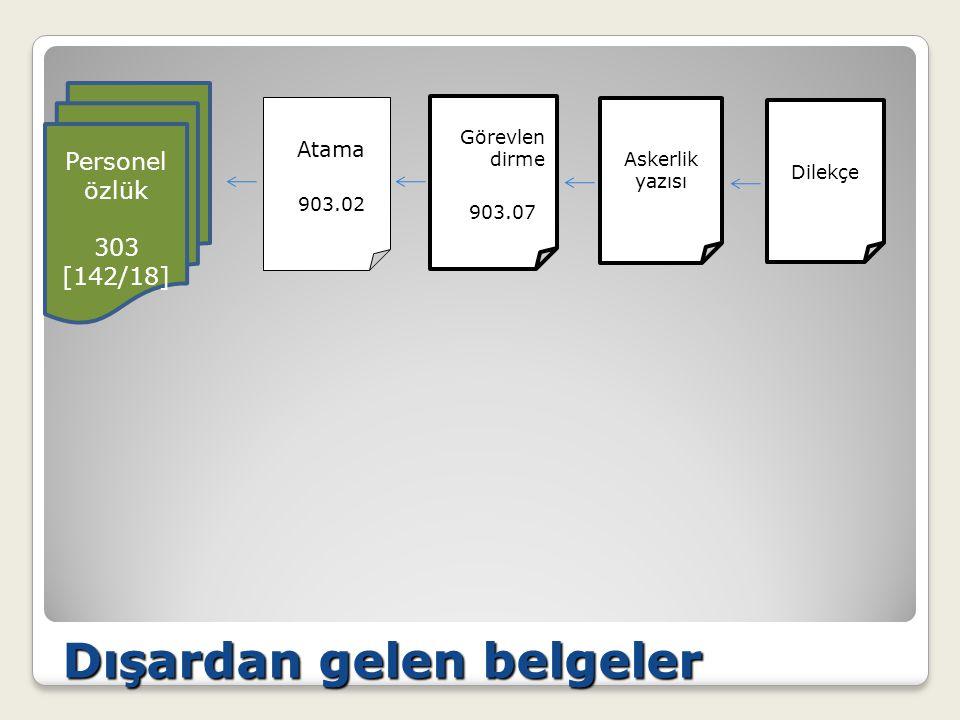 Dışardan gelen belgeler Görevlen dirme 903.07 Personel özlük 303 [142/18] Dilekçe Atama 903.02 Askerlik yazısı