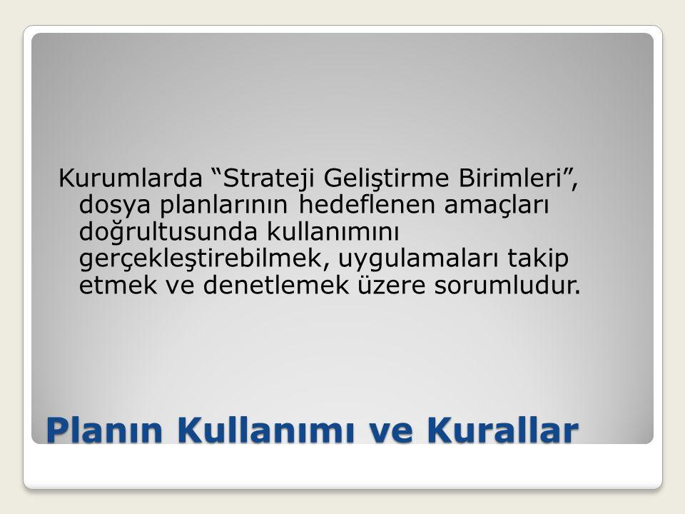 """Planın Kullanımı ve Kurallar Kurumlarda """"Strateji Geliştirme Birimleri"""", dosya planlarının hedeflenen amaçları doğrultusunda kullanımını gerçekleştire"""