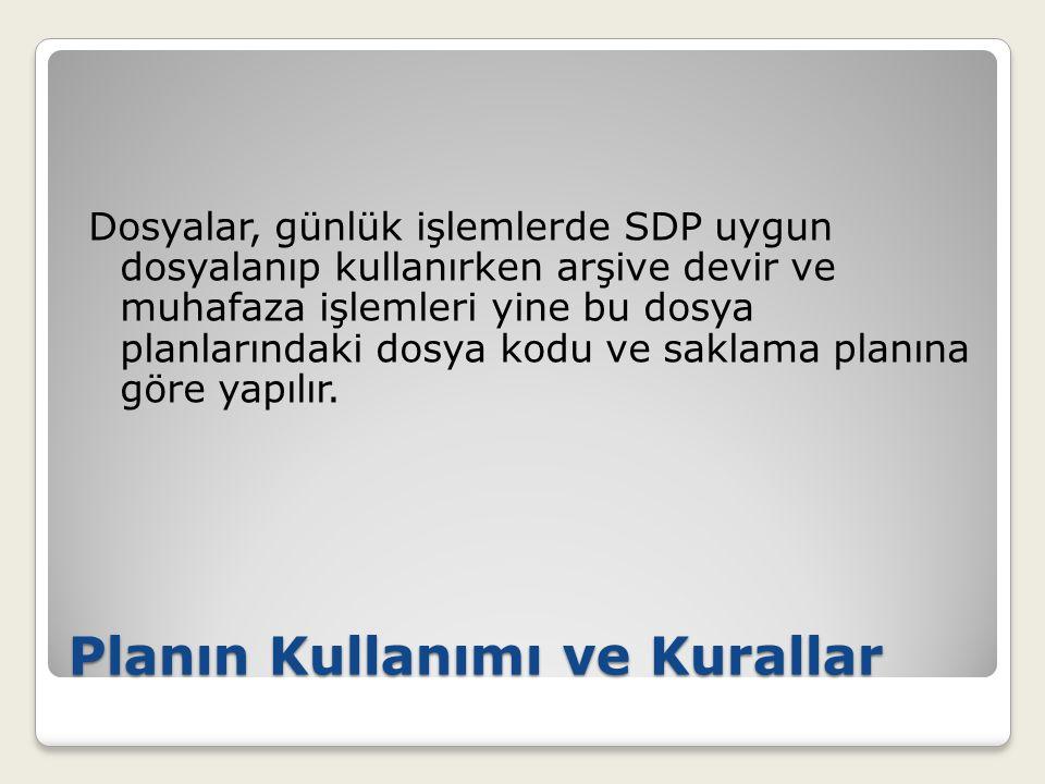Planın Kullanımı ve Kurallar Dosyalar, günlük işlemlerde SDP uygun dosyalanıp kullanırken arşive devir ve muhafaza işlemleri yine bu dosya planlarında