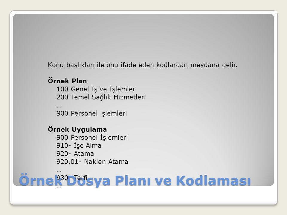 Örnek Dosya Planı ve Kodlaması Konu başlıkları ile onu ifade eden kodlardan meydana gelir. Örnek Plan 100 Genel İş ve İşlemler 200 Temel Sağlık Hizmet
