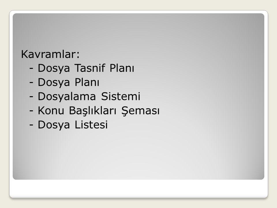 Kavramlar: - Dosya Tasnif Planı - Dosya Planı - Dosyalama Sistemi - Konu Başlıkları Şeması - Dosya Listesi