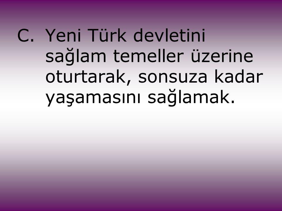 C.Yeni Türk devletini sağlam temeller üzerine oturtarak, sonsuza kadar yaşamasını sağlamak.