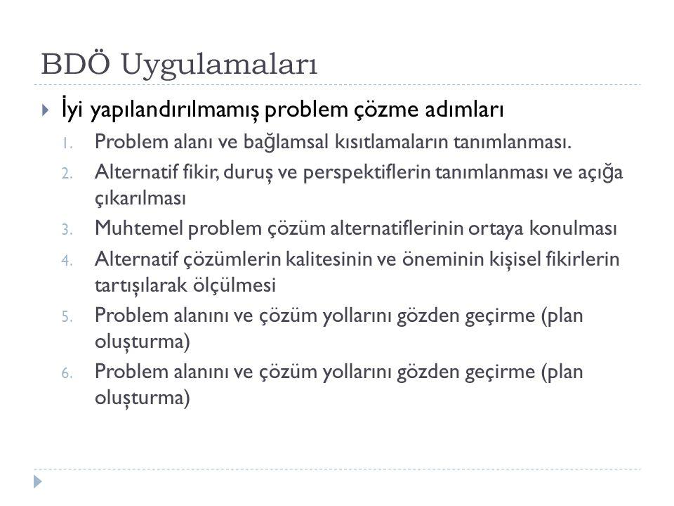 BDÖ Uygulamaları  İ yi yapılandırılmamış problem çözme adımları 1. Problem alanı ve ba ğ lamsal kısıtlamaların tanımlanması. 2. Alternatif fikir, dur