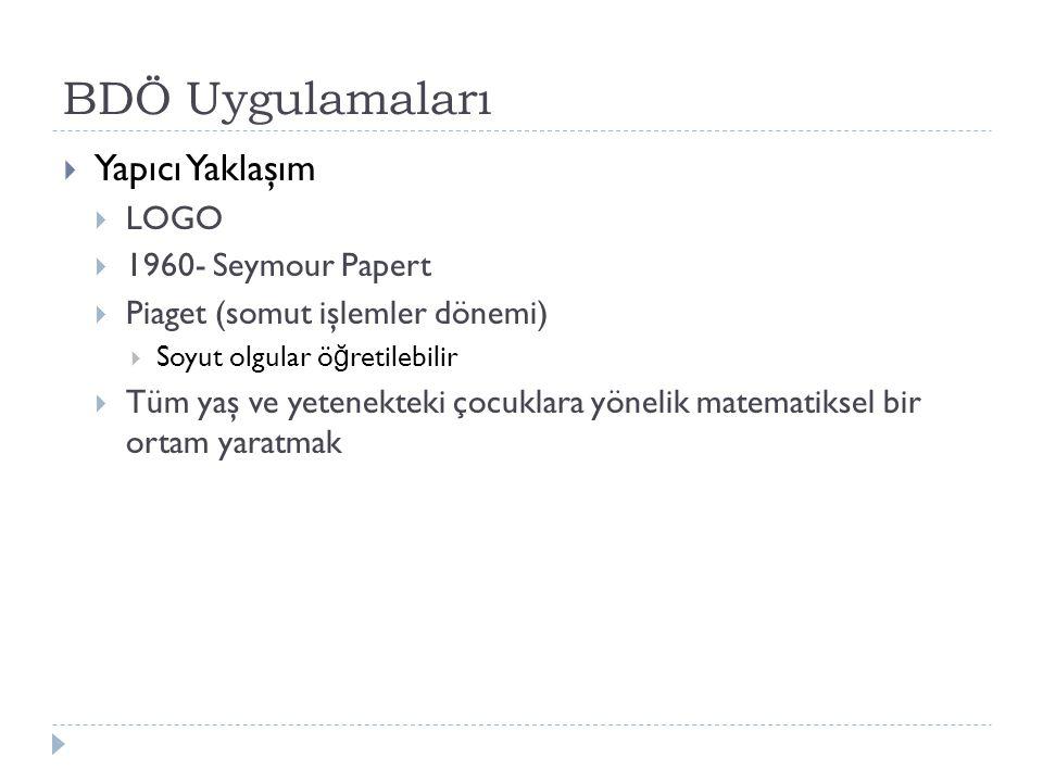 BDÖ Uygulamaları  Yapıcı Yaklaşım  LOGO  1960- Seymour Papert  Piaget (somut işlemler dönemi)  Soyut olgular ö ğ retilebilir  Tüm yaş ve yetenek