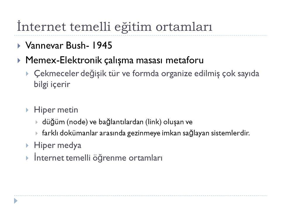 İnternet temelli eğitim ortamları  Vannevar Bush- 1945  Memex-Elektronik çalışma masası metaforu  Çekmeceler de ğ işik tür ve formda organize edilmiş çok sayıda bilgi içerir  Hiper metin  dü ğ üm (node) ve ba ğ lantılardan (link) oluşan ve  farklı dokümanlar arasında gezinmeye imkan sa ğ layan sistemlerdir.