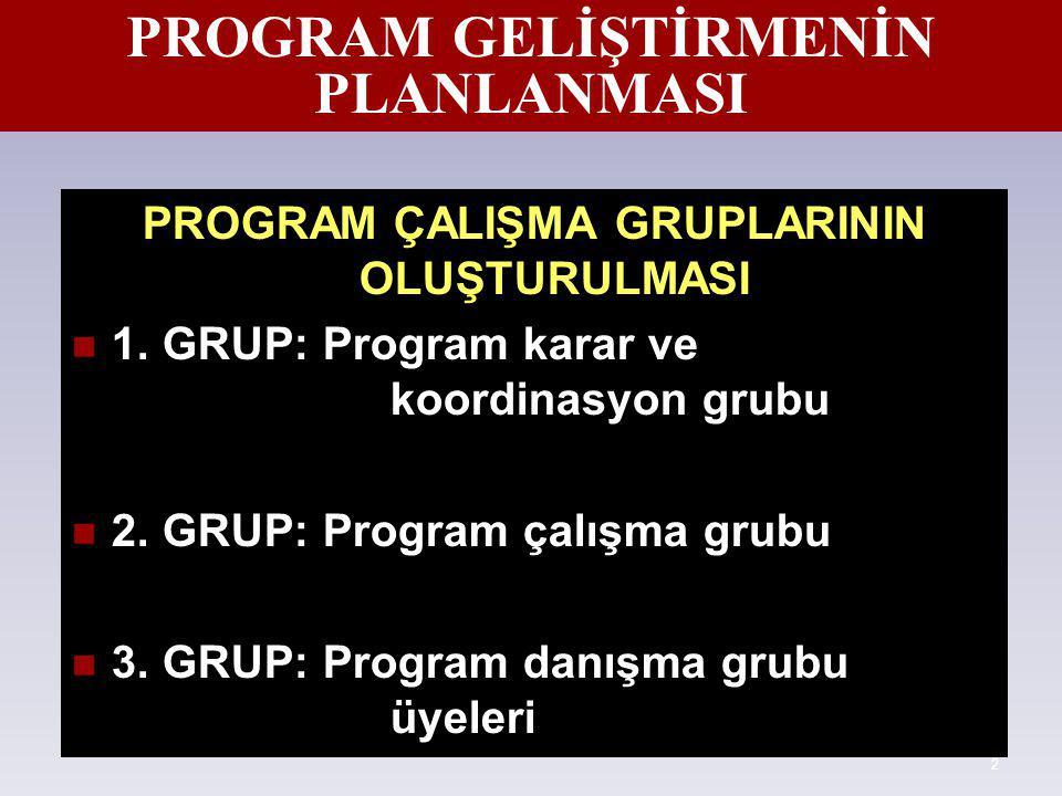 2 PROGRAM GELİŞTİRMENİN PLANLANMASI PROGRAM ÇALIŞMA GRUPLARININ OLUŞTURULMASI 1. GRUP: Program karar ve koordinasyon grubu 2. GRUP: Program çalışma gr