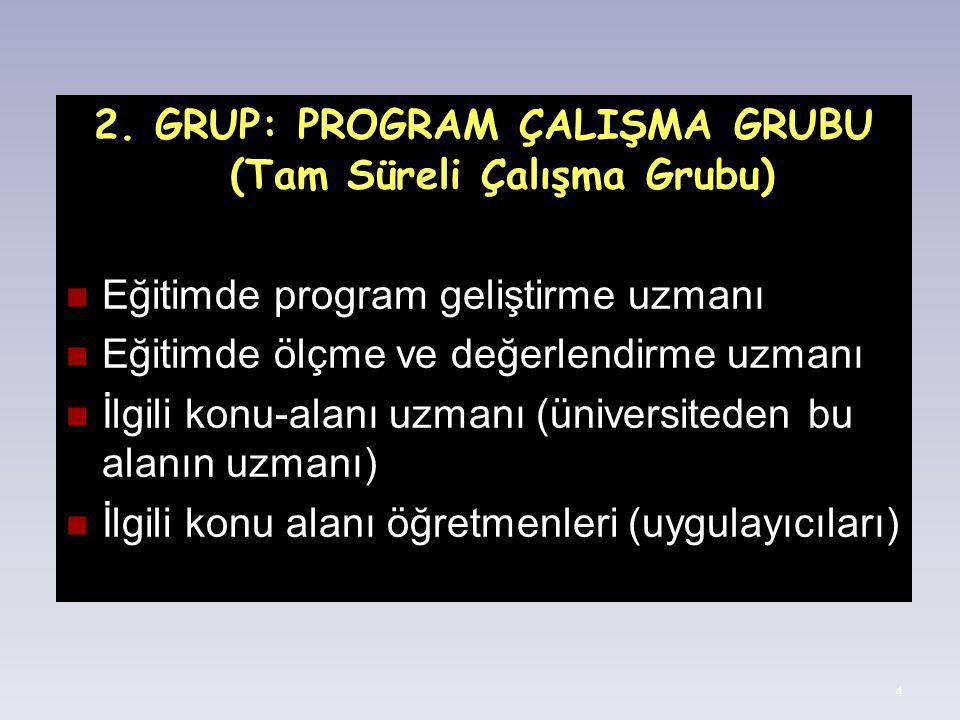 4 2. GRUP: PROGRAM ÇALIŞMA GRUBU (Tam Süreli Çalışma Grubu) Eğitimde program geliştirme uzmanı Eğitimde ölçme ve değerlendirme uzmanı İlgili konu-alan