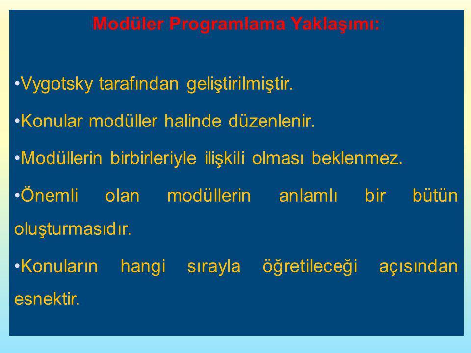 Modüler Programlama Yaklaşımı: Vygotsky tarafından geliştirilmiştir. Konular modüller halinde düzenlenir. Modüllerin birbirleriyle ilişkili olması bek