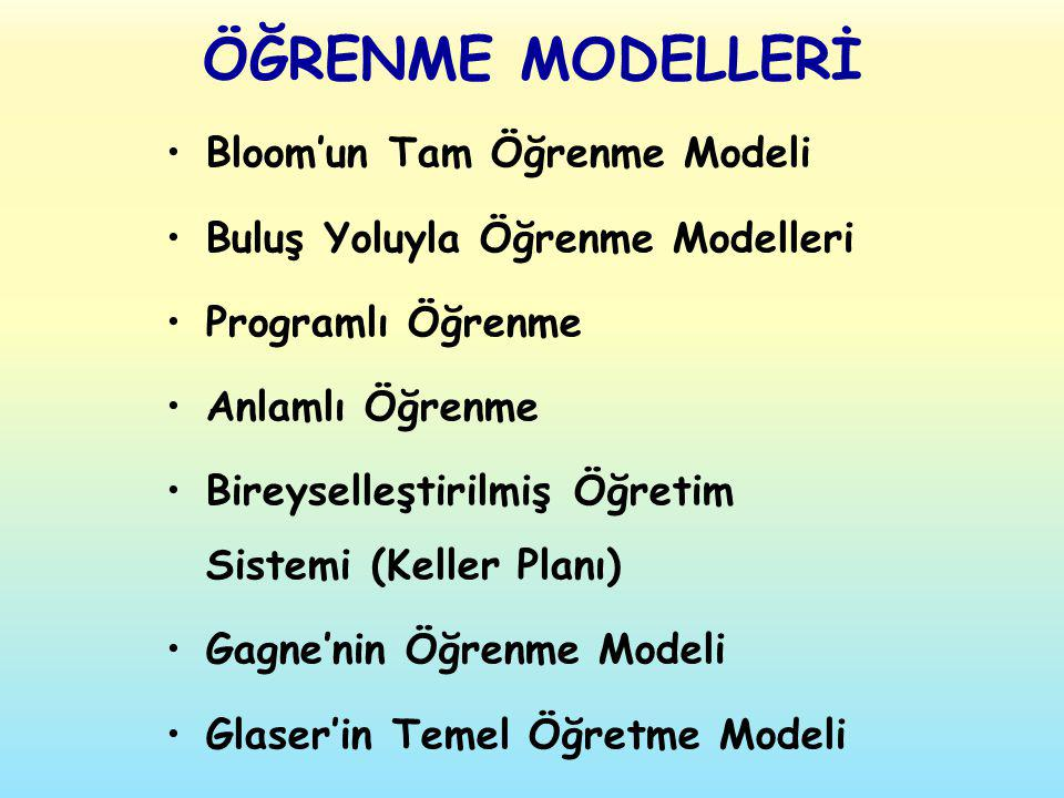 ÖĞRENME MODELLERİ Bloom'un Tam Öğrenme Modeli Buluş Yoluyla Öğrenme Modelleri Programlı Öğrenme Anlamlı Öğrenme Bireyselleştirilmiş Öğretim Sistemi (K