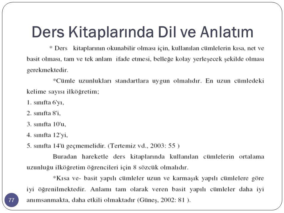 77 Ders Kitaplarında Dil ve Anlatım