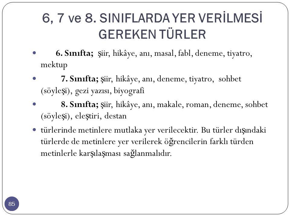 85 6, 7 ve 8.SINIFLARDA YER VERİLMESİ GEREKEN TÜRLER 85 6.