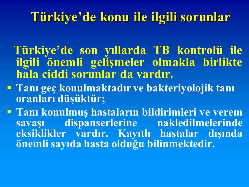 Türkiye'de son yıllarda TB kontrolü ile ilgili önemli gelişmeler olmakla birlikte hala ciddi sorunlar da vardır.  Tanı geç konulmaktadır ve bakteriyo