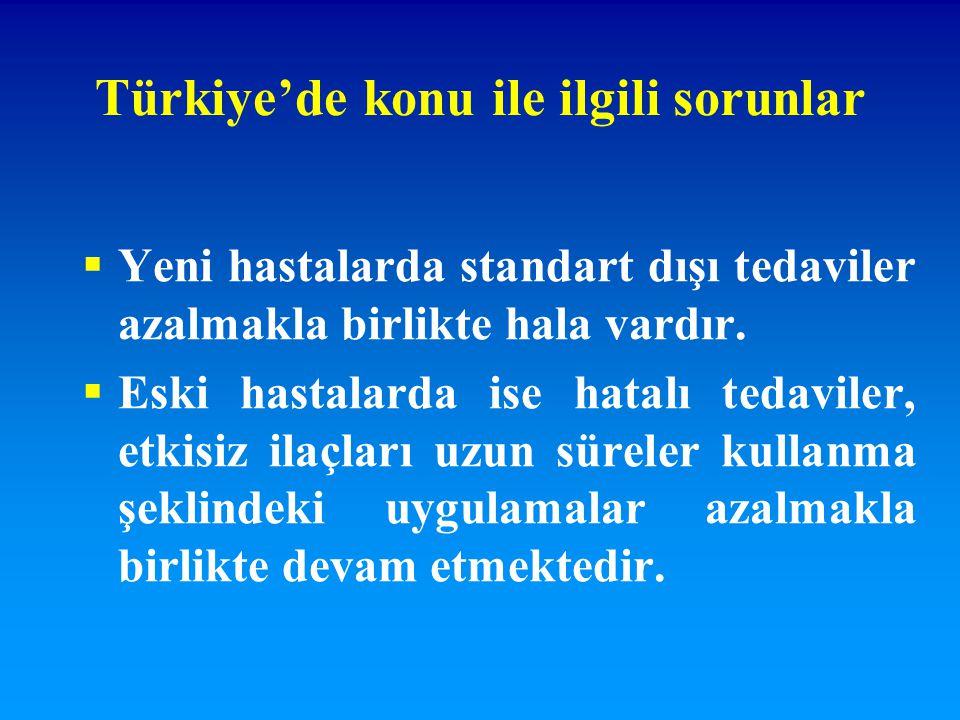 Türkiye'de konu ile ilgili sorunlar  Yeni hastalarda standart dışı tedaviler azalmakla birlikte hala vardır.  Eski hastalarda ise hatalı tedaviler,