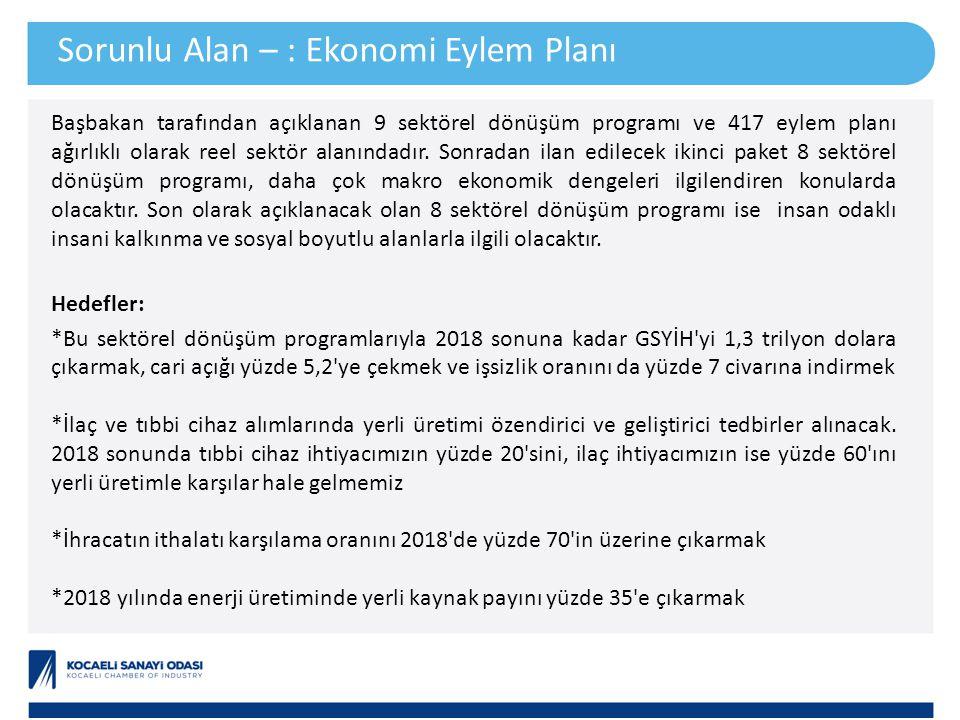 Başbakan tarafından açıklanan 9 sektörel dönüşüm programı ve 417 eylem planı ağırlıklı olarak reel sektör alanındadır. Sonradan ilan edilecek ikinci p