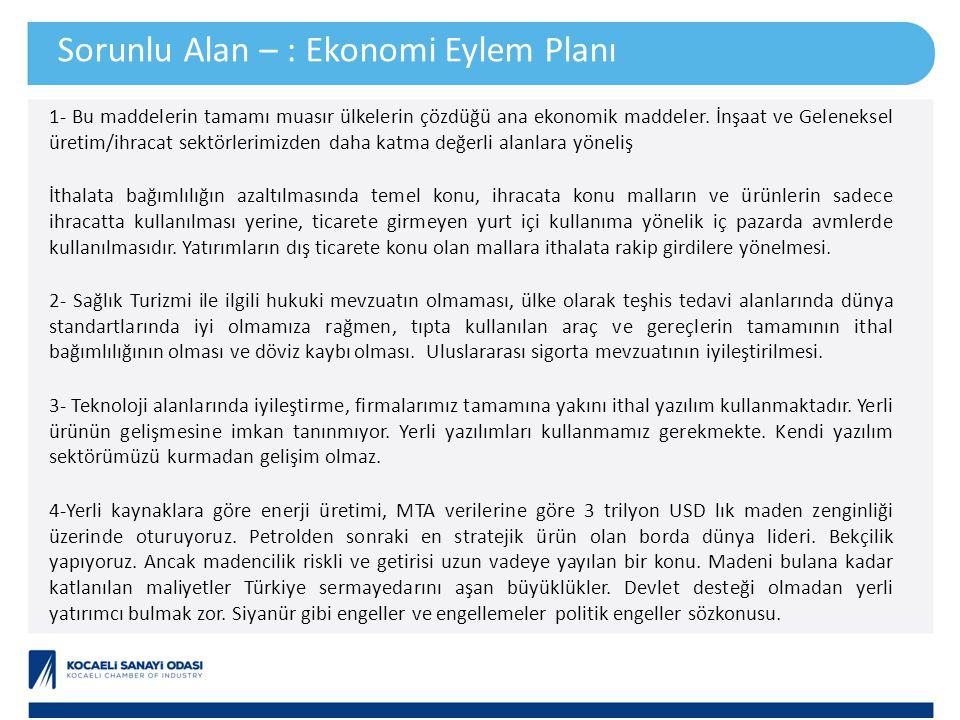 Sorunlu Alan – : Ekonomi Eylem Planı 1- Bu maddelerin tamamı muasır ülkelerin çözdüğü ana ekonomik maddeler. İnşaat ve Geleneksel üretim/ihracat sektö