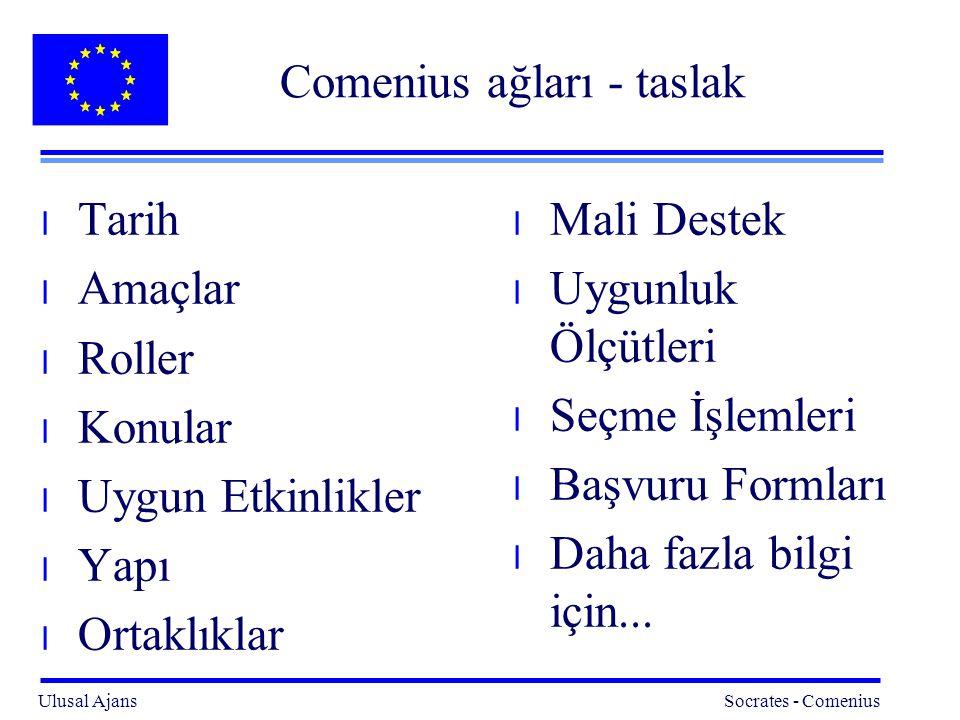 Ulusal Ajans Socrates - Comenius 22 Comenius ağları : daha fazla bilgi için...