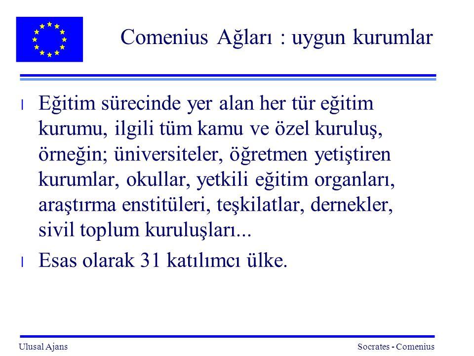Ulusal Ajans Socrates - Comenius 12 Comenius Ağları : uygun kurumlar l Eğitim sürecinde yer alan her tür eğitim kurumu, ilgili tüm kamu ve özel kuruluş, örneğin; üniversiteler, öğretmen yetiştiren kurumlar, okullar, yetkili eğitim organları, araştırma enstitüleri, teşkilatlar, dernekler, sivil toplum kuruluşları...