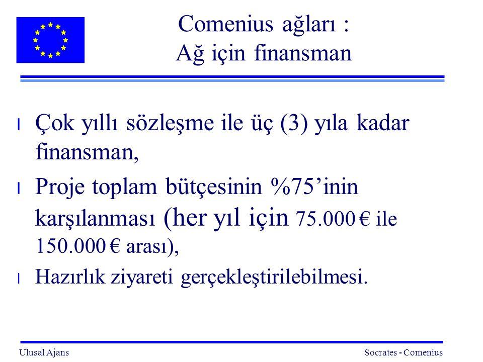 Ulusal Ajans Socrates - Comenius 13 Comenius ağları : Ağ için finansman l Çok yıllı sözleşme ile üç (3) yıla kadar finansman, l Proje toplam bütçesinin %75'inin karşılanması (her yıl için 75.000 € ile 150.000 € arası), l Hazırlık ziyareti gerçekleştirilebilmesi.