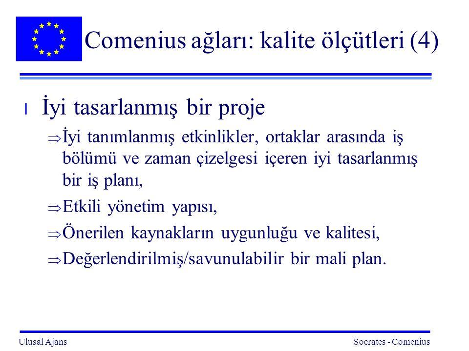 Ulusal Ajans Socrates - Comenius 18 Comenius ağları: kalite ölçütleri (4) l İyi tasarlanmış bir proje  İyi tanımlanmış etkinlikler, ortaklar arasında iş bölümü ve zaman çizelgesi içeren iyi tasarlanmış bir iş planı,  Etkili yönetim yapısı,  Önerilen kaynakların uygunluğu ve kalitesi,  Değerlendirilmiş/savunulabilir bir mali plan.