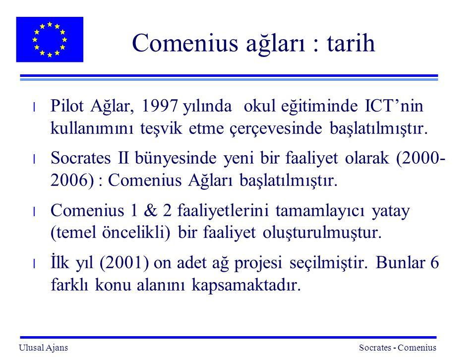 Ulusal Ajans Socrates - Comenius 2 Comenius ağları : tarih l Pilot Ağlar, 1997 yılında okul eğitiminde ICT'nin kullanımını teşvik etme çerçevesinde başlatılmıştır.