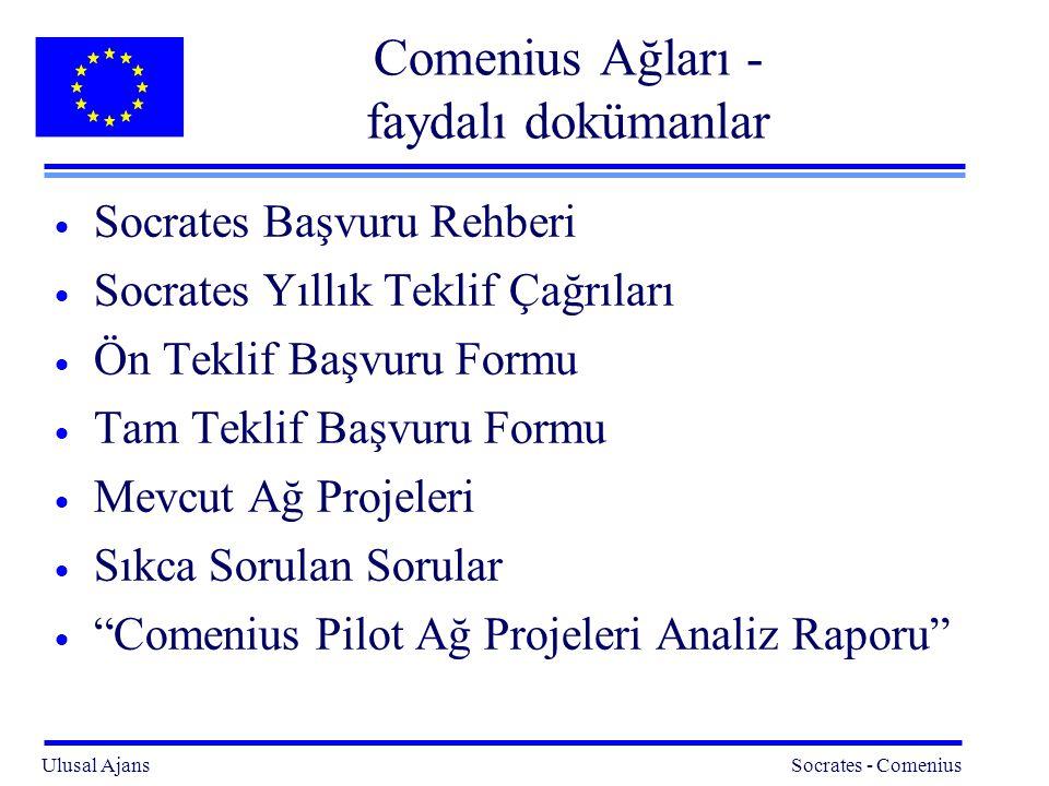 Ulusal Ajans Socrates - Comenius 23 Comenius Ağları - faydalı dokümanlar  Socrates Başvuru Rehberi  Socrates Yıllık Teklif Çağrıları  Ön Teklif Başvuru Formu  Tam Teklif Başvuru Formu  Mevcut Ağ Projeleri  Sıkca Sorulan Sorular  Comenius Pilot Ağ Projeleri Analiz Raporu
