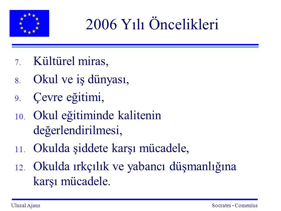 Ulusal Ajans Socrates - Comenius 25 2006 Yılı Öncelikleri 7.