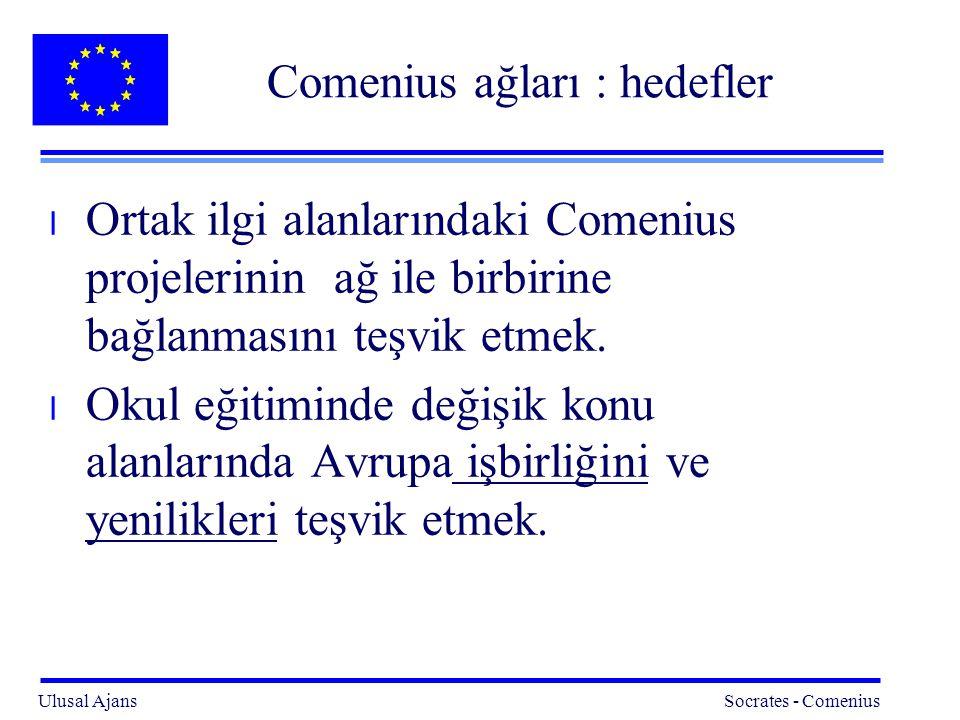 Ulusal Ajans Socrates - Comenius 3 Comenius ağları : hedefler l Ortak ilgi alanlarındaki Comenius projelerinin ağ ile birbirine bağlanmasını teşvik etmek.