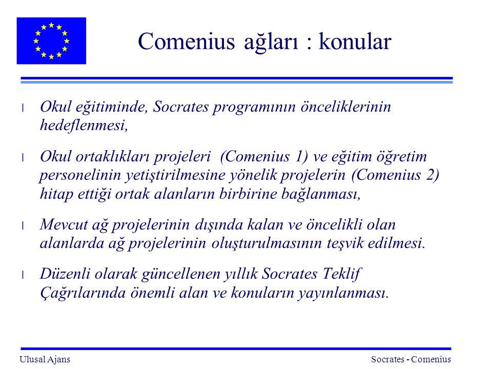 Ulusal Ajans Socrates - Comenius 5 Comenius ağları : konular l Okul eğitiminde, Socrates programının önceliklerinin hedeflenmesi, l Okul ortaklıkları projeleri (Comenius 1) ve eğitim öğretim personelinin yetiştirilmesine yönelik projelerin (Comenius 2) hitap ettiği ortak alanların birbirine bağlanması, l Mevcut ağ projelerinin dışında kalan ve öncelikli olan alanlarda ağ projelerinin oluşturulmasının teşvik edilmesi.
