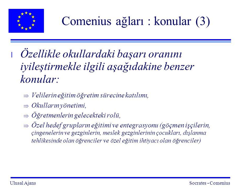 Ulusal Ajans Socrates - Comenius 8 Comenius ağları : konular (3) l Özellikle okullardaki başarı oranını iyileştirmekle ilgili aşağıdakine benzer konular:  Velilerin eğitim öğretim sürecine katılımı,  Okulların yönetimi,  Öğretmenlerin gelecekteki rolü,  Özel hedef grupların eğitimi ve entegrasyonu (göçmen işçilerin, çingenelerin ve gezginlerin, meslek gezginlerinin çocukları, dışlanma tehlikesinde olan öğrenciler ve özel eğitim ihtiyacı olan öğrenciler )