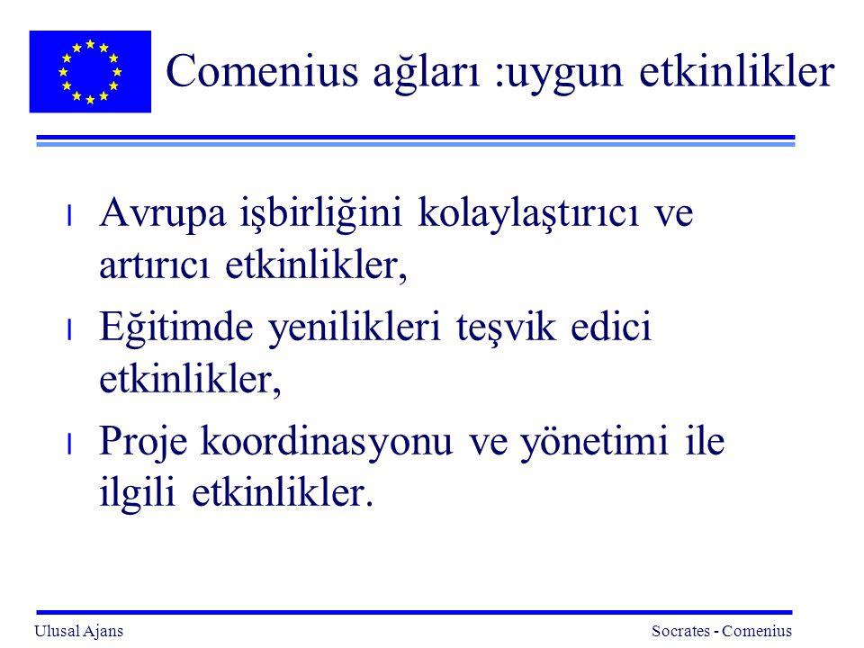 Ulusal Ajans Socrates - Comenius 10 Comenius ağları : uygun etkinlikler (minimum şartlar) l Ağ etkinliklerini desteklemek üzere bir internet web sayfası ve diğer ilgili araçları oluşturmak, l İlgili konu alanında eğitimdeki yeniliklerin durumu konusunda yıllık rapor yayınlamak, l Comenius proje ortaklarının ve ilgili tüm kesimlerin katılımına açık olan, yıllık bir konulu konferans / seminer düzenlemek, l Uygun araçlarla, Comenius hedef kitlesini gerçekleştirilecek etkinlikler konusunda bilgilendirmek, l Avrupa Komisyonu tarafından düzenlenen yıllık proje koordinatörler toplantısına katılmak.
