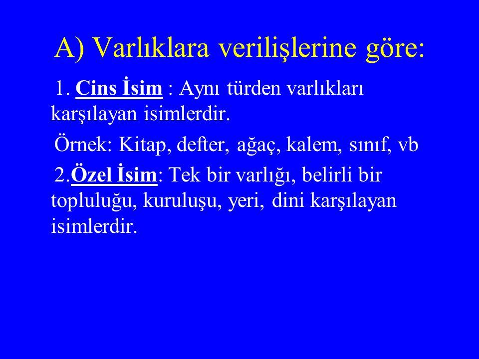 Özel İsimler: Yer İsimleri: Bayburt, İstanbul, Trabzon...