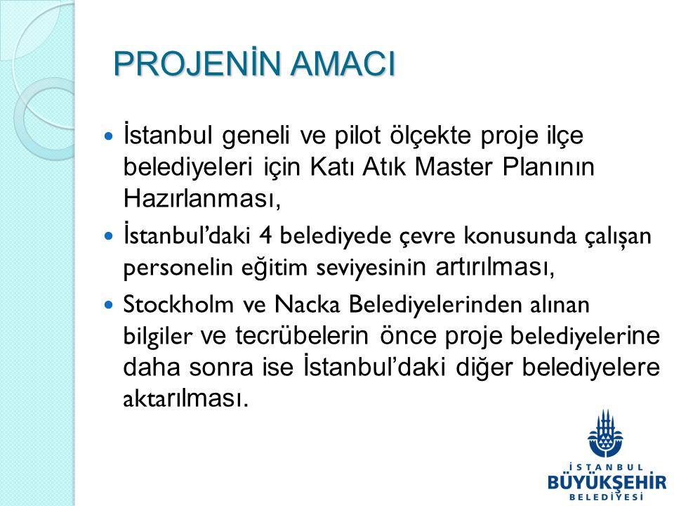 PROJENİN AMACI İstanbul geneli ve pilot ölçekte proje ilçe belediyeleri için Katı Atık Master Planının Hazırlanması, İ stanbul'daki 4 belediyede çevre