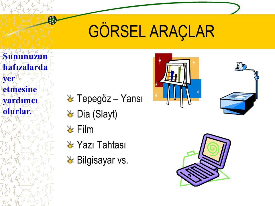 GÖRSEL ARAÇLAR Tepegöz – Yansı Dia (Slayt) Film Yazı Tahtası Bilgisayar vs.