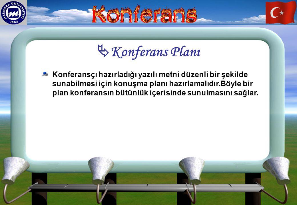 Konferans Planı Konferansçı hazırladığı yazılı metni düzenli bir şekilde sunabilmesi için konuşma planı hazırlamalıdır.Böyle bir plan konferansın bü